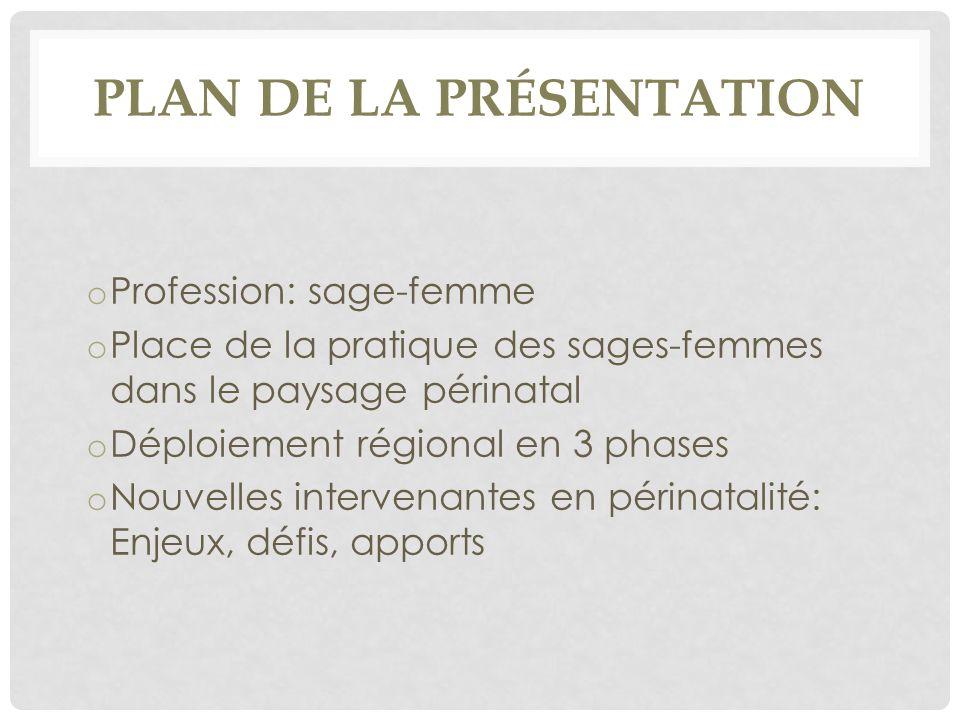 PLAN DE LA PRÉSENTATION o Profession: sage-femme o Place de la pratique des sages-femmes dans le paysage périnatal o Déploiement régional en 3 phases