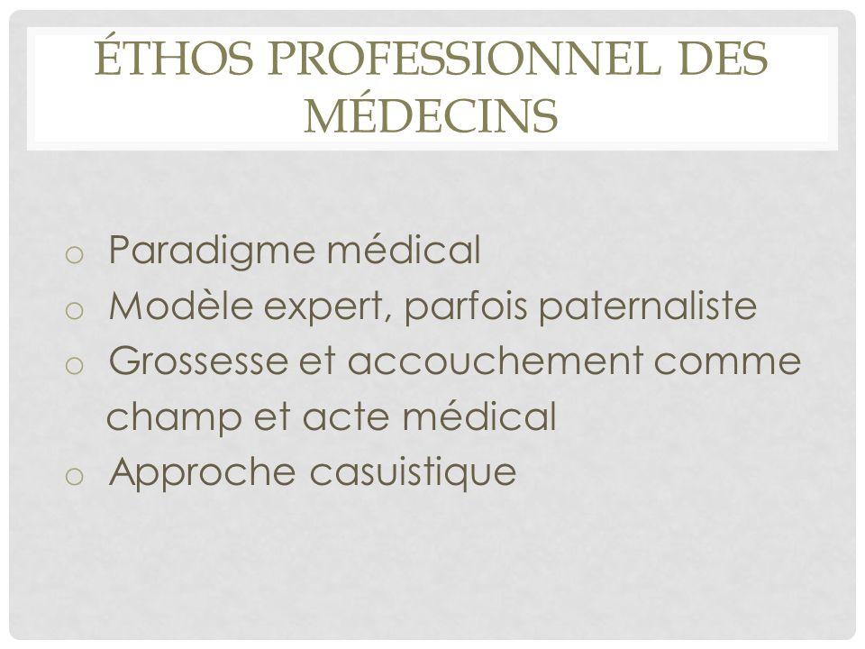 ÉTHOS PROFESSIONNEL DES MÉDECINS o Paradigme médical o Modèle expert, parfois paternaliste o Grossesse et accouchement comme champ et acte médical o A