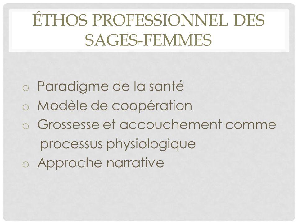 ÉTHOS PROFESSIONNEL DES SAGES-FEMMES o Paradigme de la santé o Modèle de coopération o Grossesse et accouchement comme processus physiologique o Appro