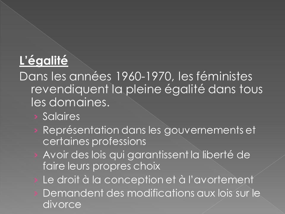 L'égalité Dans les années 1960-1970, les féministes revendiquent la pleine égalité dans tous les domaines. › Salaires › Représentation dans les gouver