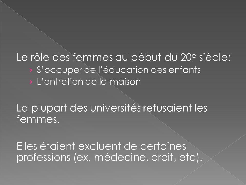 Le rôle des femmes au début du 20 e siècle: › S'occuper de l'éducation des enfants › L'entretien de la maison La plupart des universités refusaient les femmes.