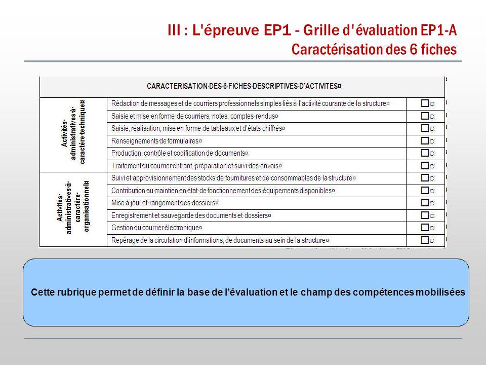 III : L épreuve EP1 - Grille d évaluation EP1-A Caractérisation des 6 fiches Cette rubrique permet de définir la base de l'évaluation et le champ des compétences mobilisées