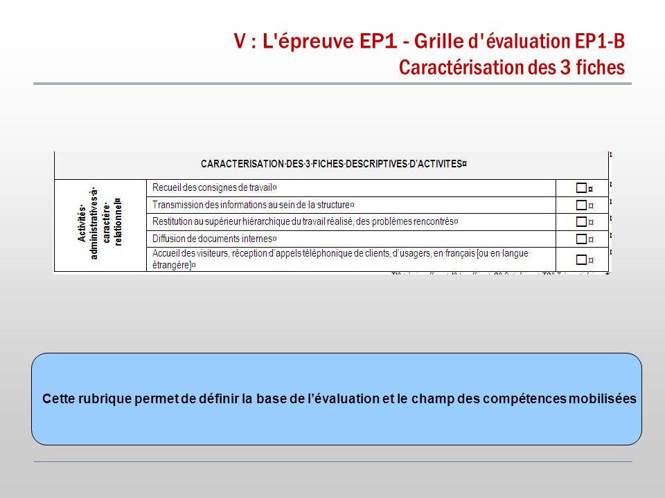 V : L épreuve EP1 - Grille d évaluation EP1-B Caractérisation des 3 fiches Cette rubrique permet de définir la base de l'évaluation et le champ des compétences mobilisées