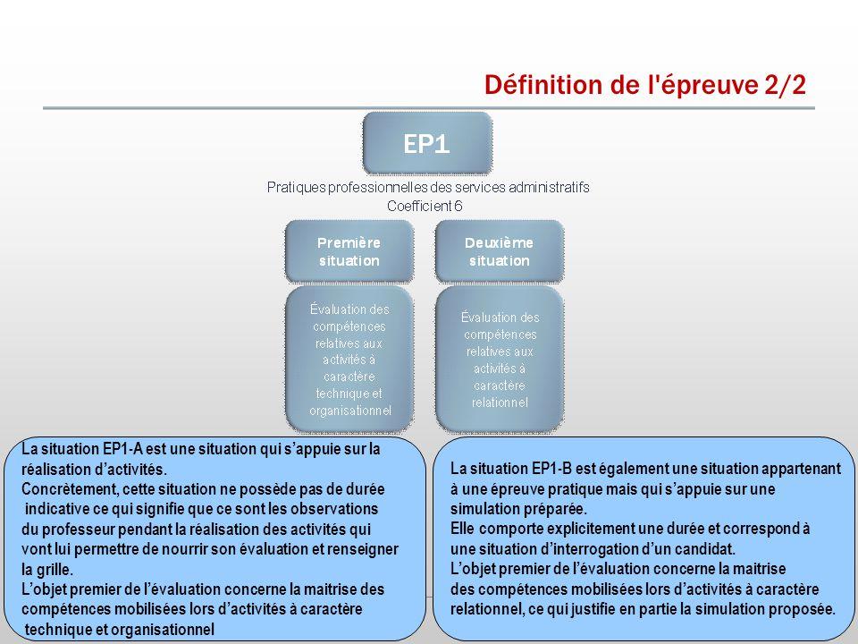 Définition de l épreuve 2/2 La situation EP1-A est une situation qui s'appuie sur la réalisation d'activités.