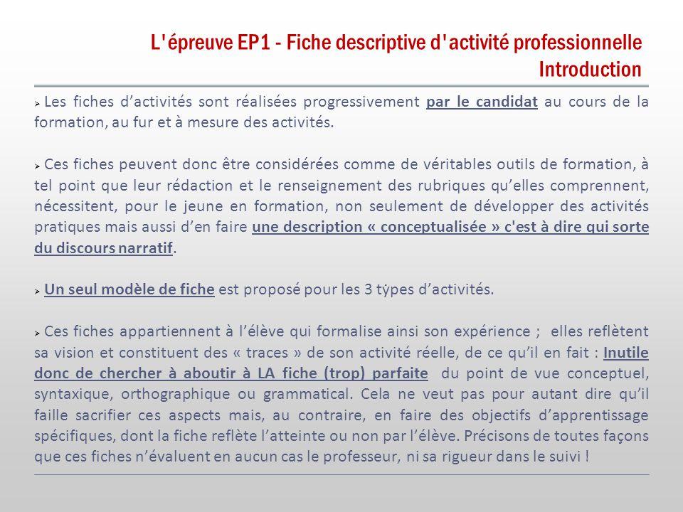 L épreuve EP1 - Fiche descriptive d activité professionnelle Introduction.