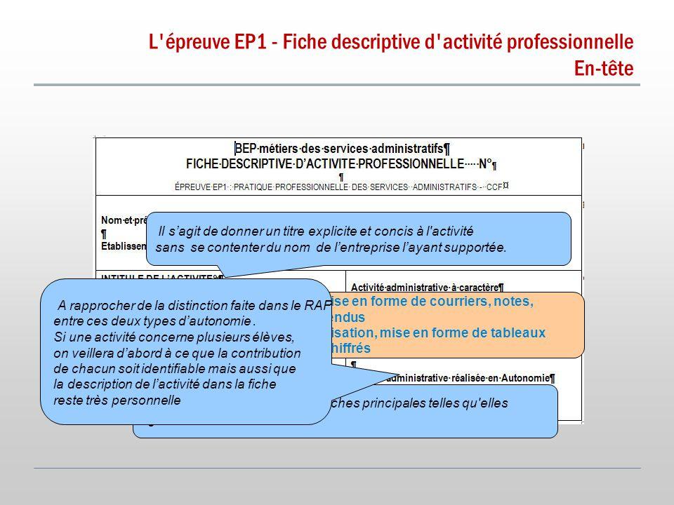 L épreuve EP1 - Fiche descriptive d activité professionnelle En-tête.