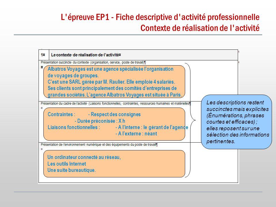 L épreuve EP1 - Fiche descriptive d activité professionnelle Contexte de réalisation de l activité Les descriptions restent succinctes mais explicites (Énumérations, phrases courtes et efficaces) ; elles reposent sur une sélection des informations pertinentes.