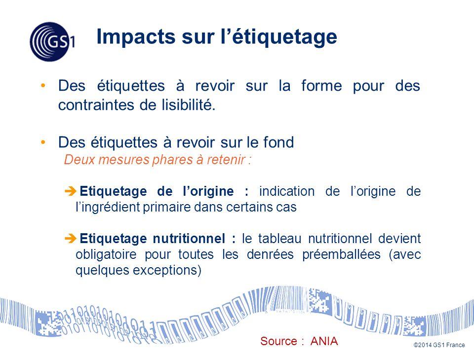 ©2014 GS1 France Des étiquettes à revoir sur la forme pour des contraintes de lisibilité.