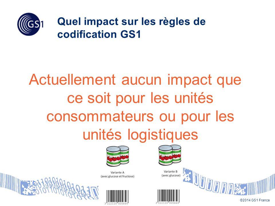©2014 GS1 France Quel impact sur les règles de codification GS1 Actuellement aucun impact que ce soit pour les unités consommateurs ou pour les unités logistiques