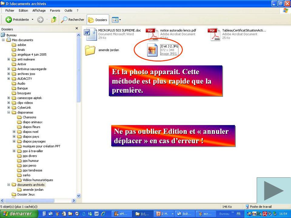 Ouvrir le dossier « documents archivés (clic gauche dessus) Ouvrir le dossier « documents archivés (clic gauche dessus) Clic droit sur l'écran pour ou