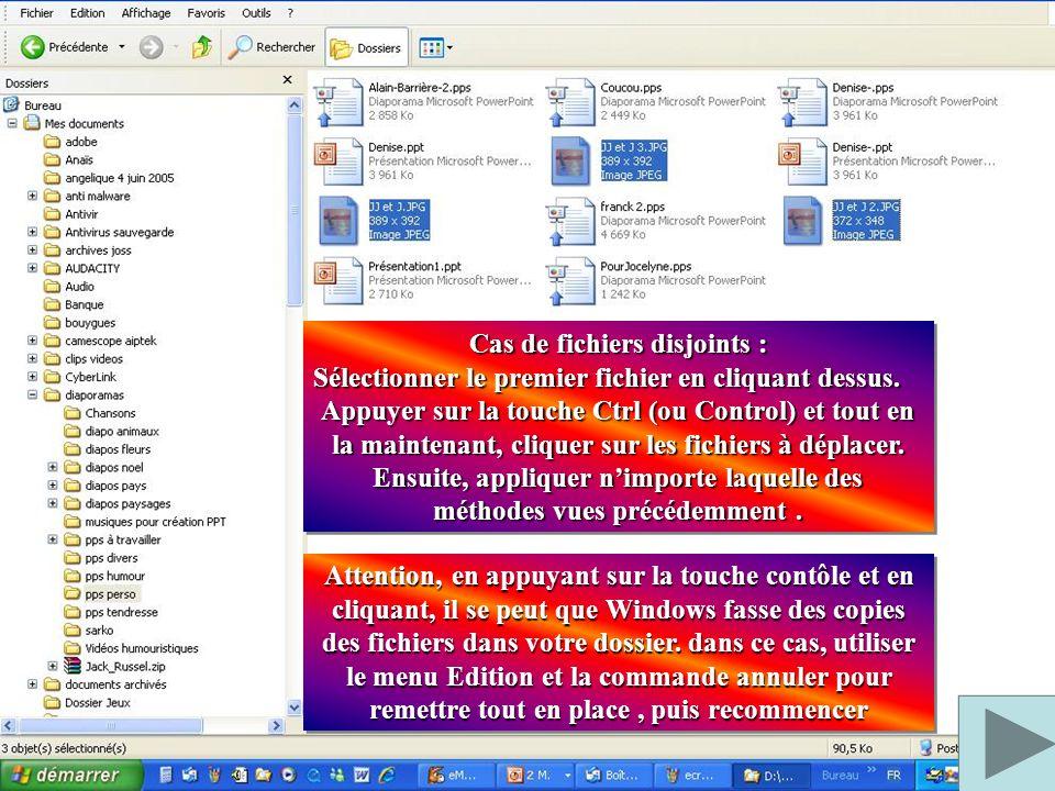 Cas de fichiers consécutifs : Sélectionner le premier fichier en cliquant dessus. Appuyer sur la touche shift et tout en la maintenant, cliquer sur le