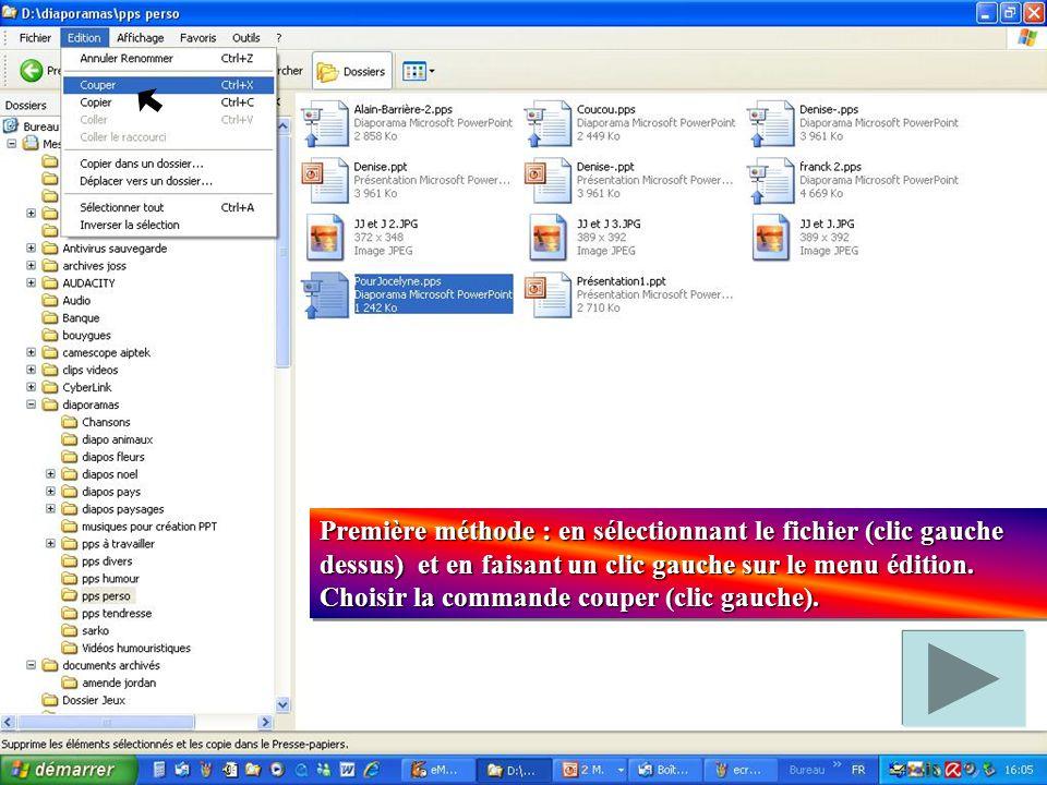 Première méthode : en sélectionnant le fichier (clic gauche dessus) et en faisant un clic gauche sur le menu édition.