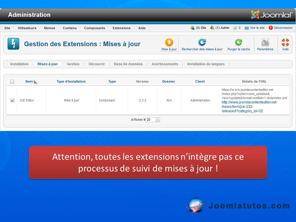 Attention, toutes les extensions n'intègre pas ce processus de suivi de mises à jour !