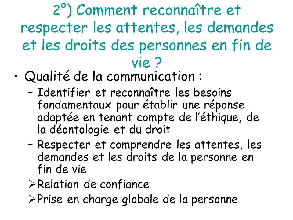2 °) Comment reconnaître et respecter les attentes, les demandes et les droits des personnes en fin de vie ? Qualité de la communication : –Identifier