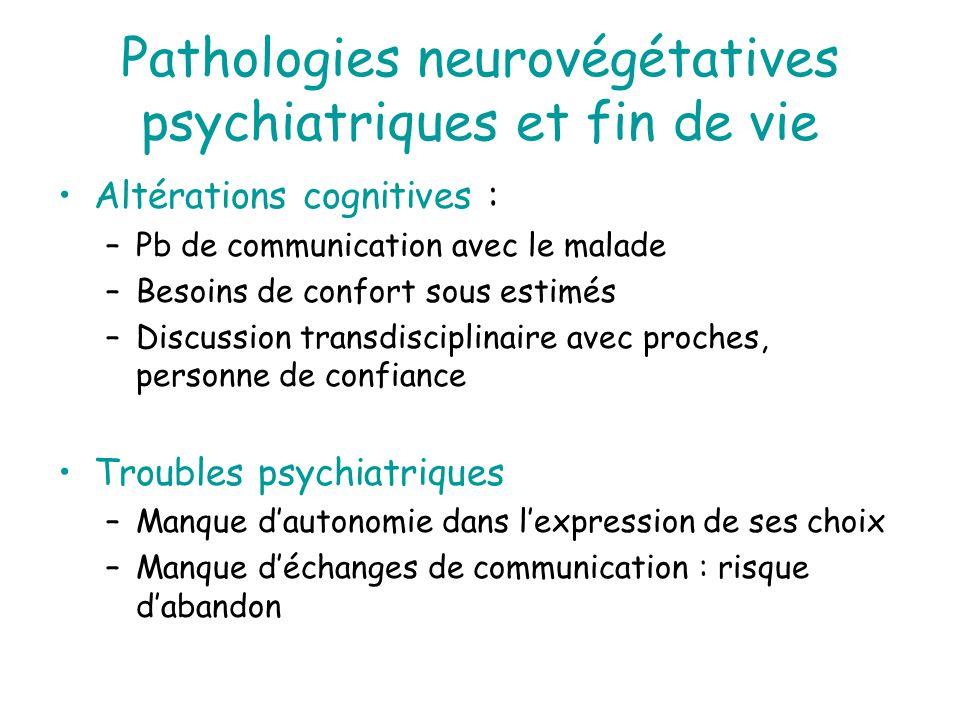 Pathologies neurovégétatives psychiatriques et fin de vie Altérations cognitives : –Pb de communication avec le malade –Besoins de confort sous estimé
