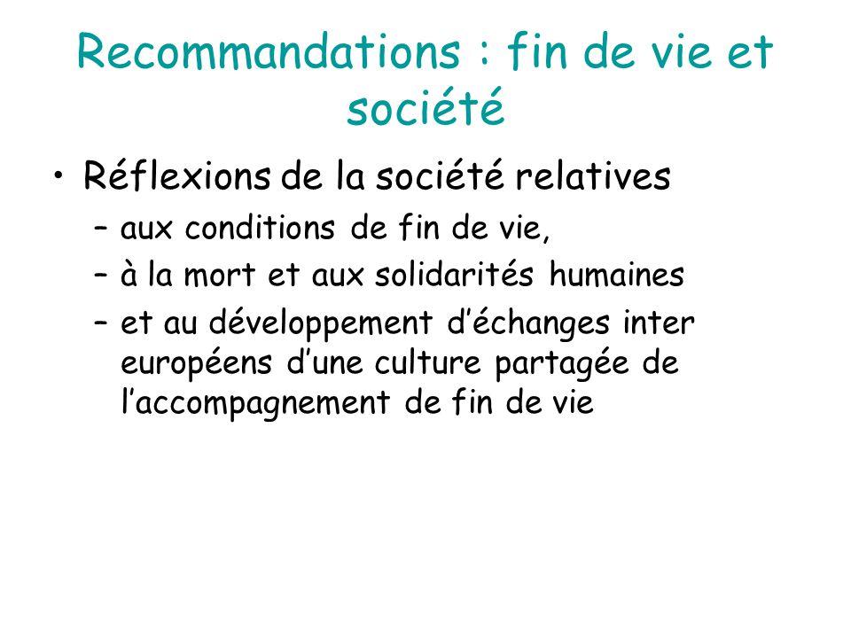 Recommandations : fin de vie et société Réflexions de la société relatives –aux conditions de fin de vie, –à la mort et aux solidarités humaines –et a