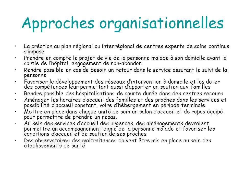 Approches organisationnelles La création au plan régional ou interrégional de centres experts de soins continus s'impose Prendre en compte le projet d