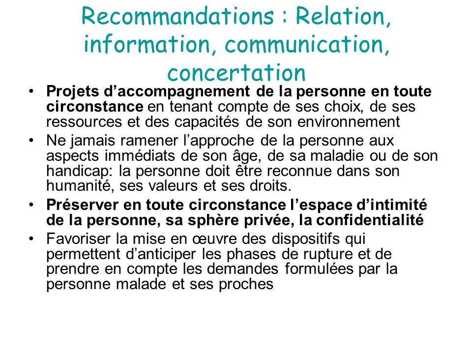 Recommandations : Relation, information, communication, concertation Projets d'accompagnement de la personne en toute circonstance en tenant compte de