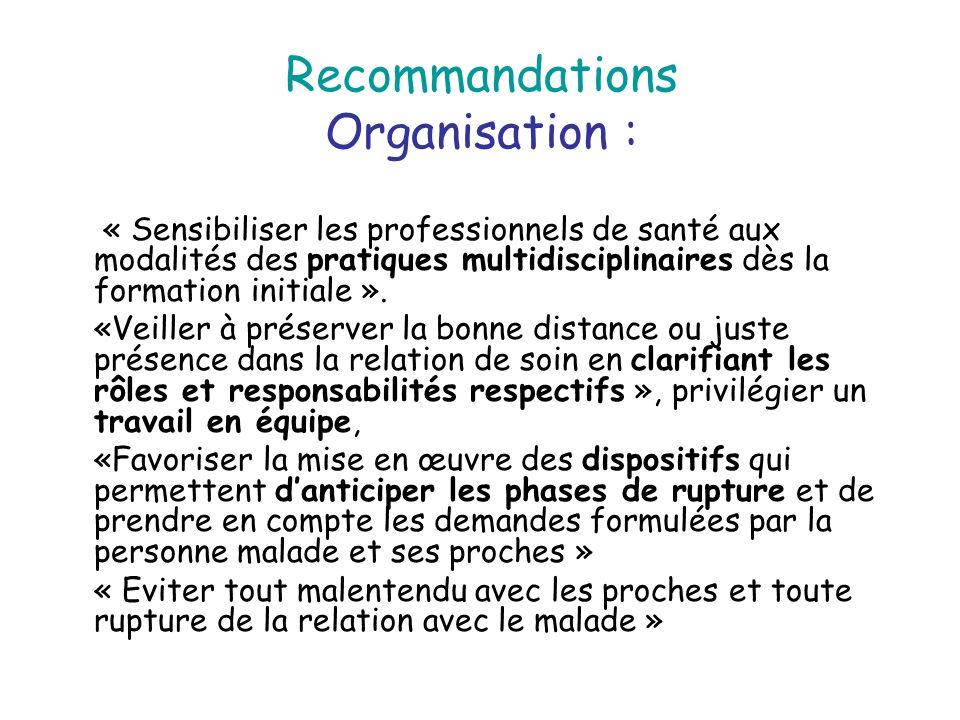 Recommandations Organisation : « Sensibiliser les professionnels de santé aux modalités des pratiques multidisciplinaires dès la formation initiale ».