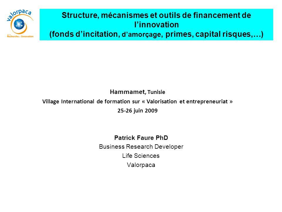 Hammamet, Tunisie Village International de formation sur « Valorisation et entrepreneuriat » 25-26 juin 2009 Structure, mécanismes et outils de financ