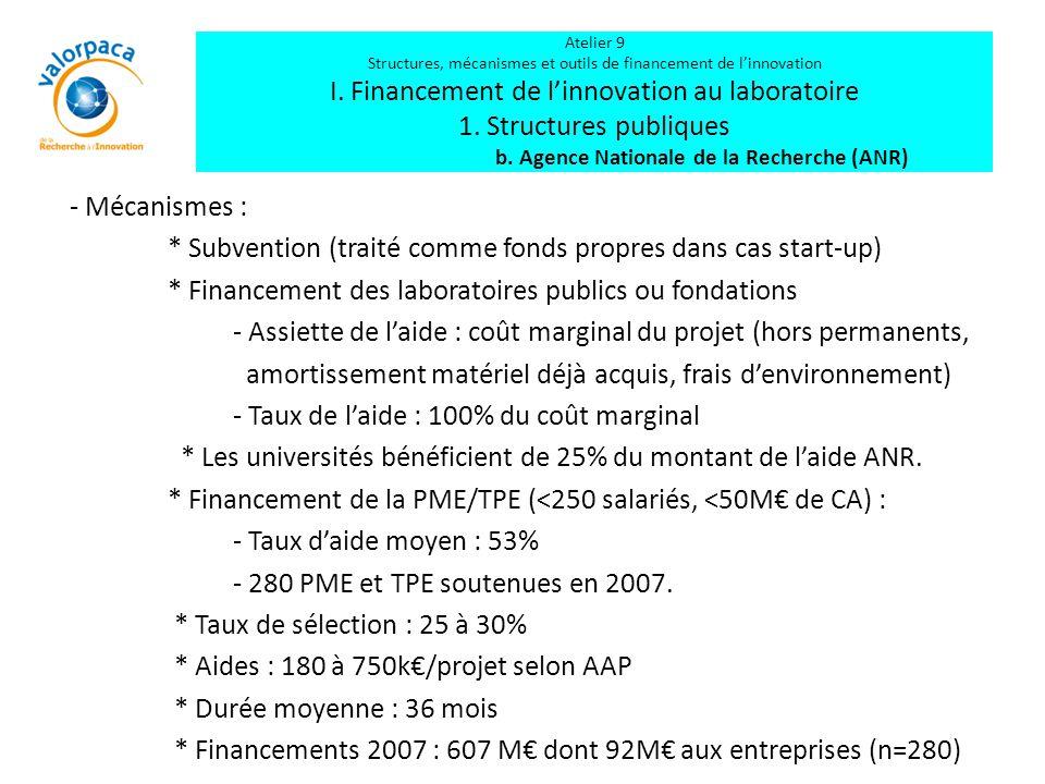 - Mécanismes : * Subvention (traité comme fonds propres dans cas start-up) * Financement des laboratoires publics ou fondations - Assiette de l'aide :