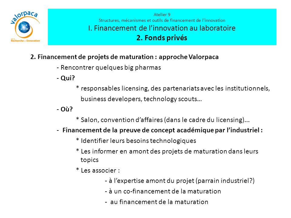 2. Financement de projets de maturation : approche Valorpaca - Rencontrer quelques big pharmas - Qui? * responsables licensing, des partenariats avec