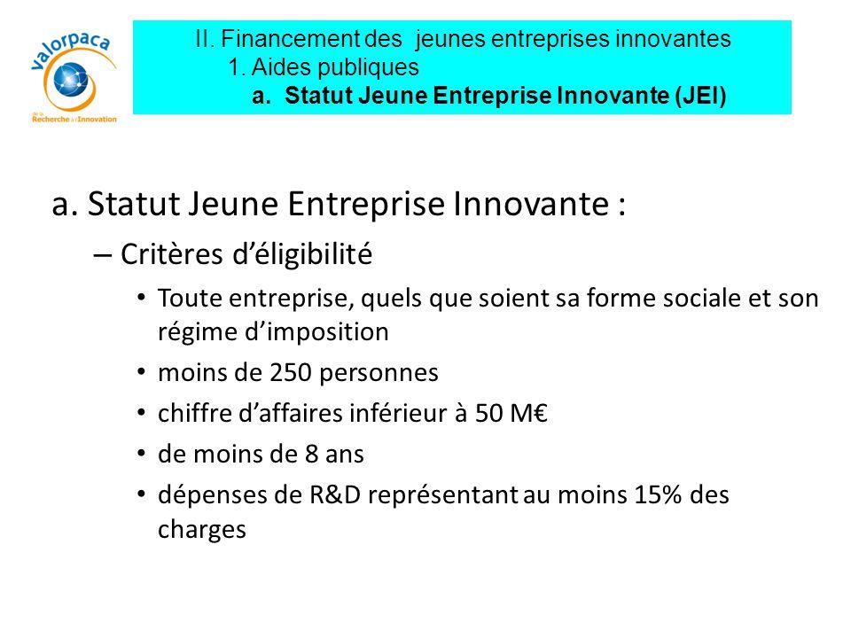 a. Statut Jeune Entreprise Innovante : – Critères d'éligibilité Toute entreprise, quels que soient sa forme sociale et son régime d'imposition moins d