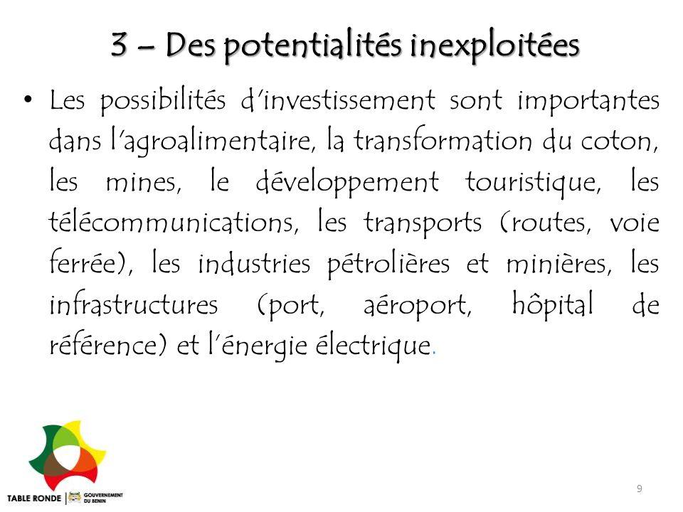 3 – Des potentialités inexploitées Les possibilités d'investissement sont importantes dans l'agroalimentaire, la transformation du coton, les mines, l