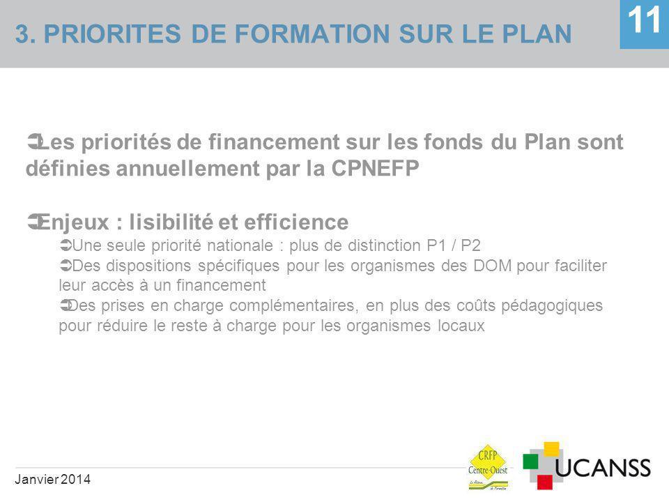 3. PRIORITES DE FORMATION SUR LE PLAN 11 Janvier 2014  Les priorités de financement sur les fonds du Plan sont définies annuellement par la CPNEFP 