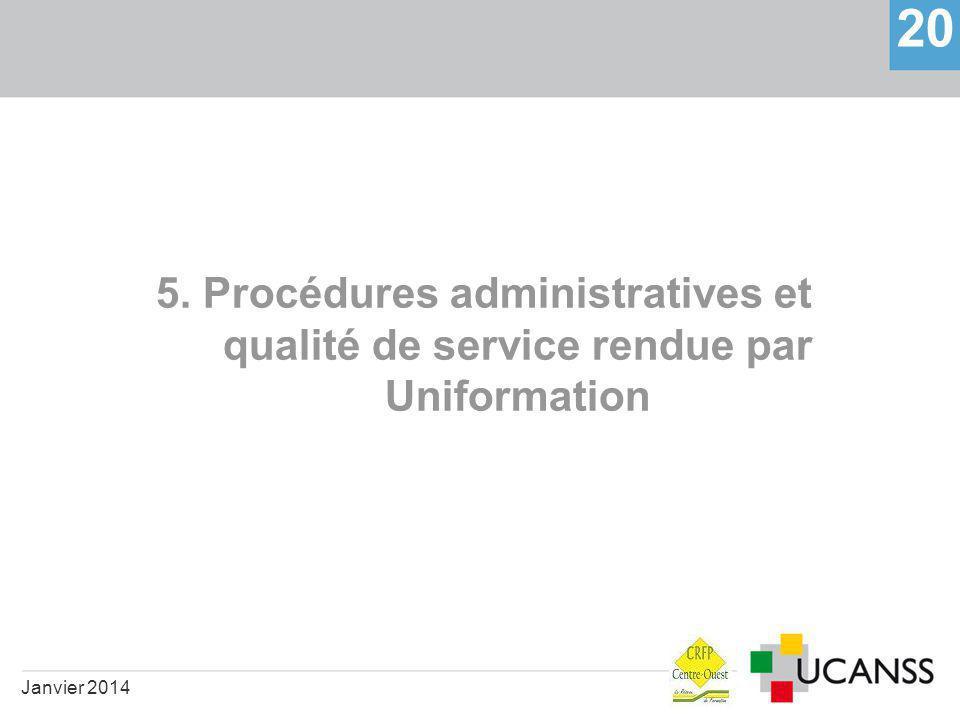 5. Procédures administratives et qualité de service rendue par Uniformation 20 Janvier 2014