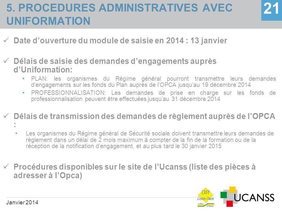 5. PROCEDURES ADMINISTRATIVES AVEC UNIFORMATION 21 Date d'ouverture du module de saisie en 2014 : 13 janvier Délais de saisie des demandes d'engagemen