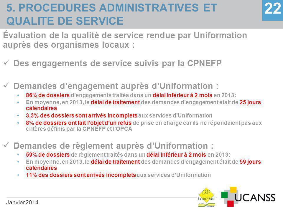 5. PROCEDURES ADMINISTRATIVES ET QUALITE DE SERVICE 22 Évaluation de la qualité de service rendue par Uniformation auprès des organismes locaux : Des