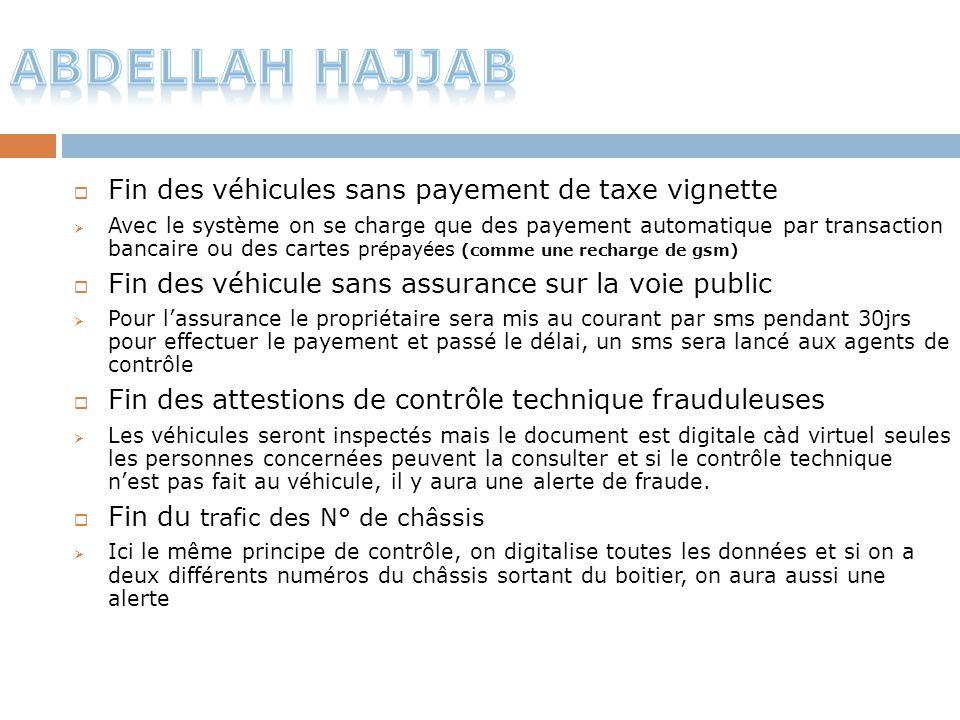 Fin des véhicules sans payement de taxe vignette  Avec le système on se charge que des payement automatique par transaction bancaire ou des cartes