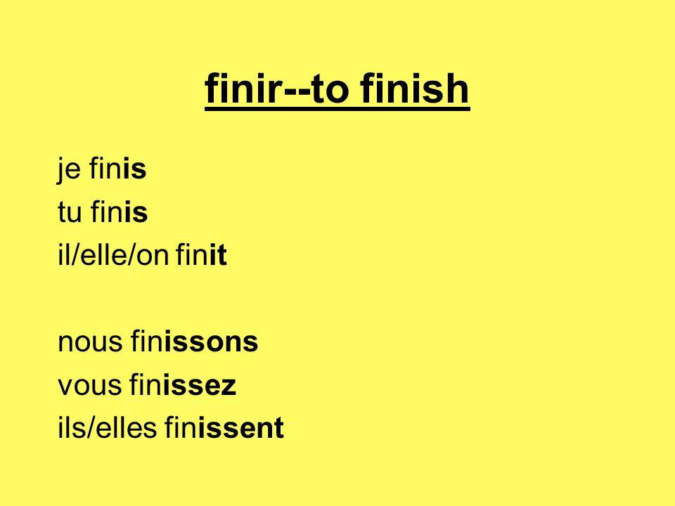 finir--to finish je finis tu finis il/elle/on finit nous finissons vous finissez ils/elles finissent