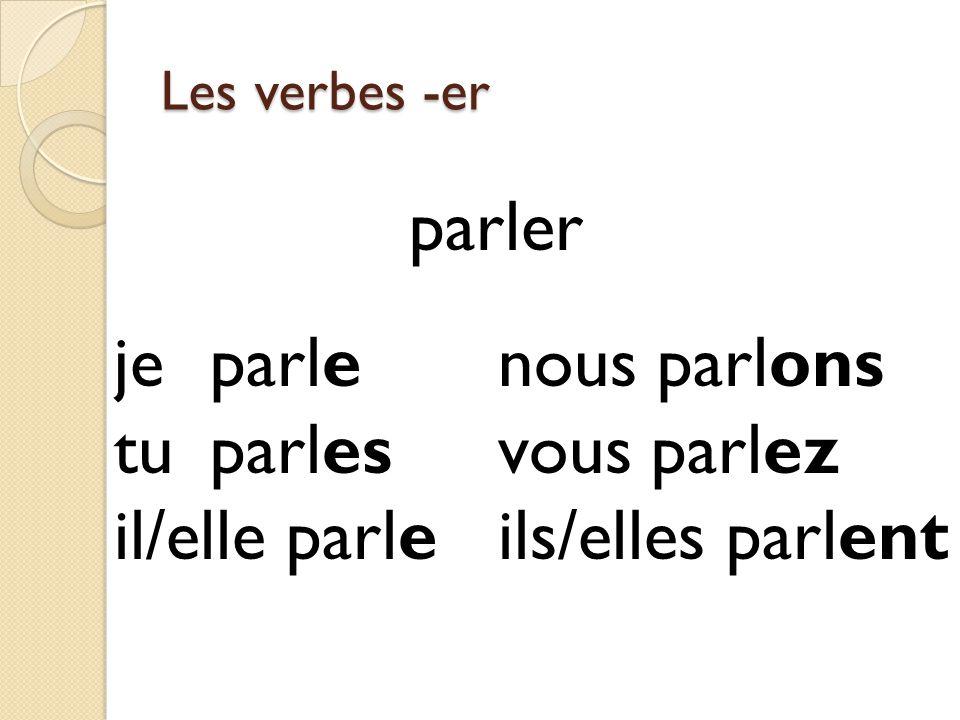 Les verbes -er parlerr jeparlenous parlons tuparlesvous parlez il/elle parleils/elles parlent