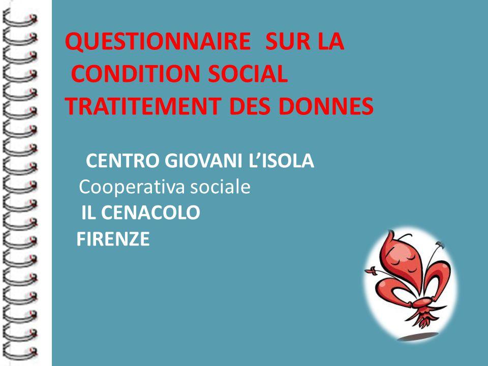 CENTRO GIOVANI L'ISOLA Cooperativa sociale IL CENACOLO FIRENZE QUESTIONNAIRE SUR LA CONDITION SOCIAL TRATITEMENT DES DONNES