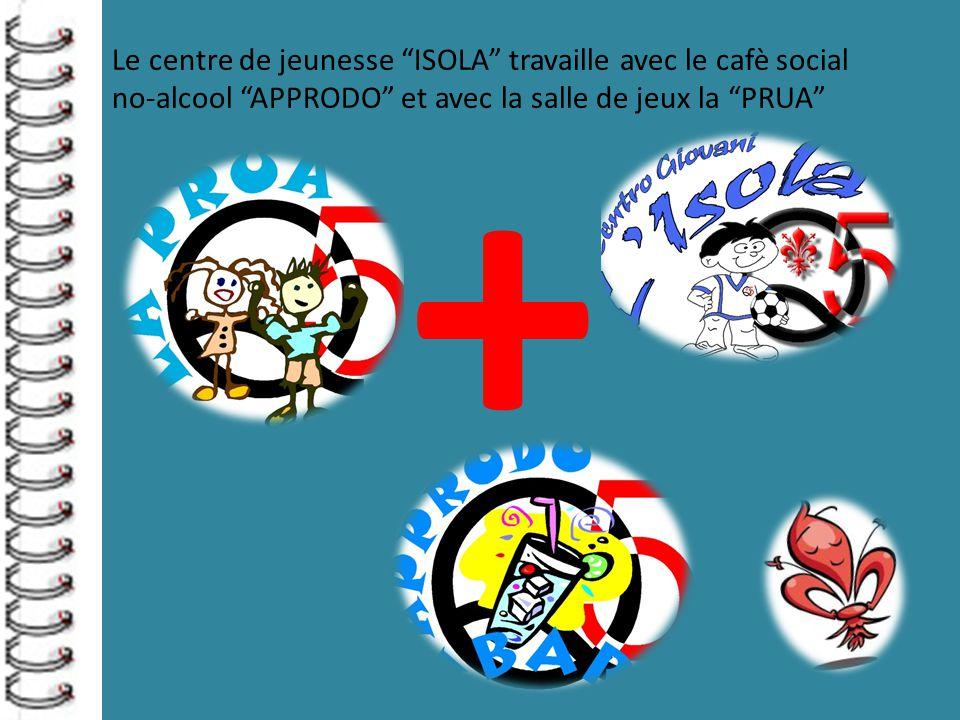 Le centre de jeunesse ISOLA travaille avec le cafè social no-alcool APPRODO et avec la salle de jeux la PRUA +