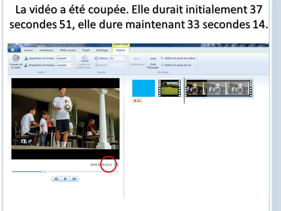 La vidéo a été coupée. Elle durait initialement 37 secondes 51, elle dure maintenant 33 secondes 14.