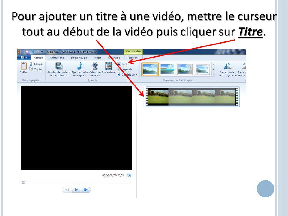 Pour ajouter un titre à une vidéo, mettre le curseur tout au début de la vidéo puis cliquer sur Titre.