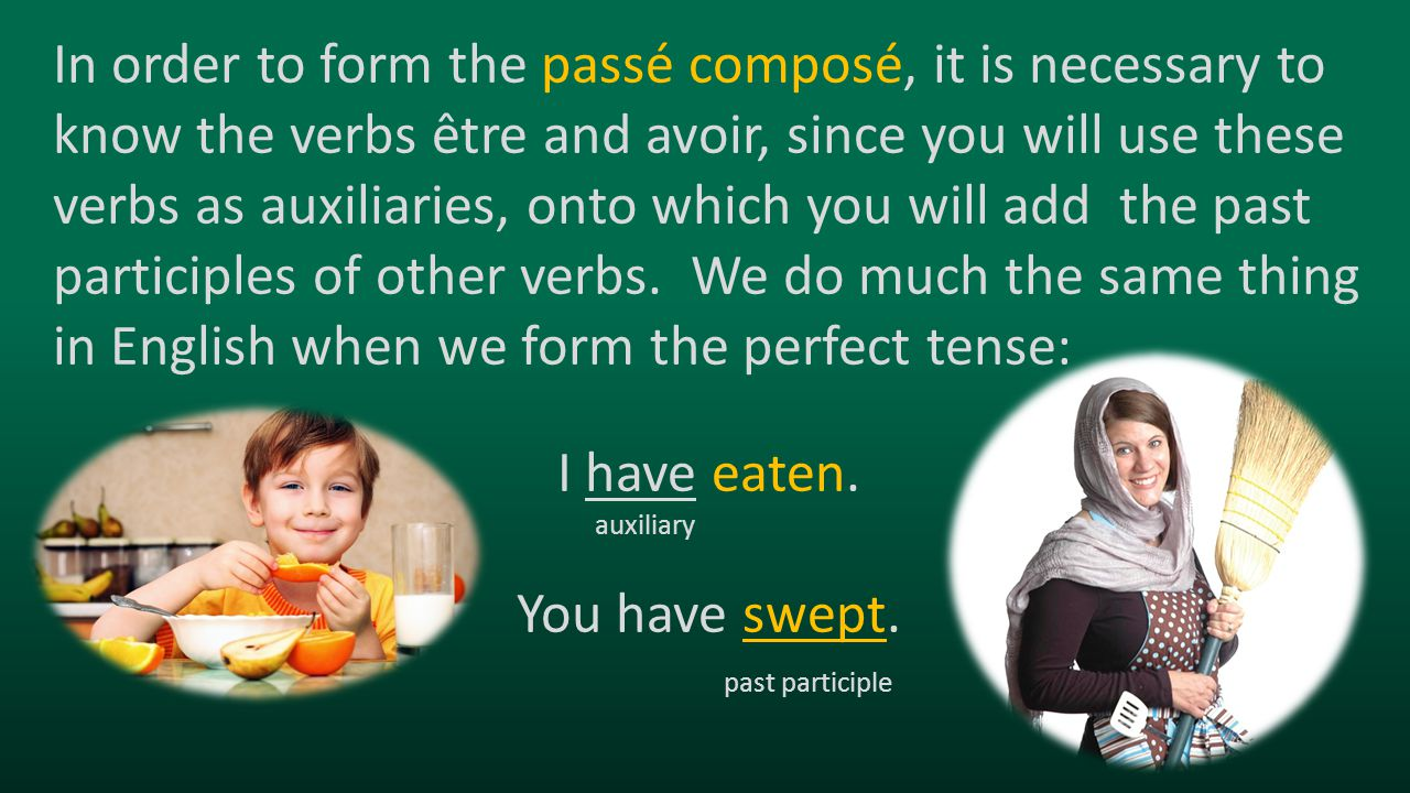 In order to form the passé composé, it is necessary to know the verbs être and avoir, since you will use these verbs as auxiliaries, onto which you wi