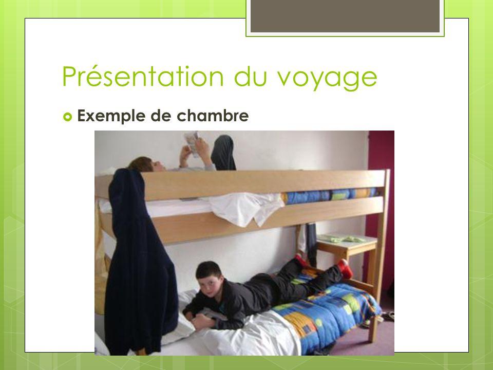Présentation du voyage  Exemple de chambre