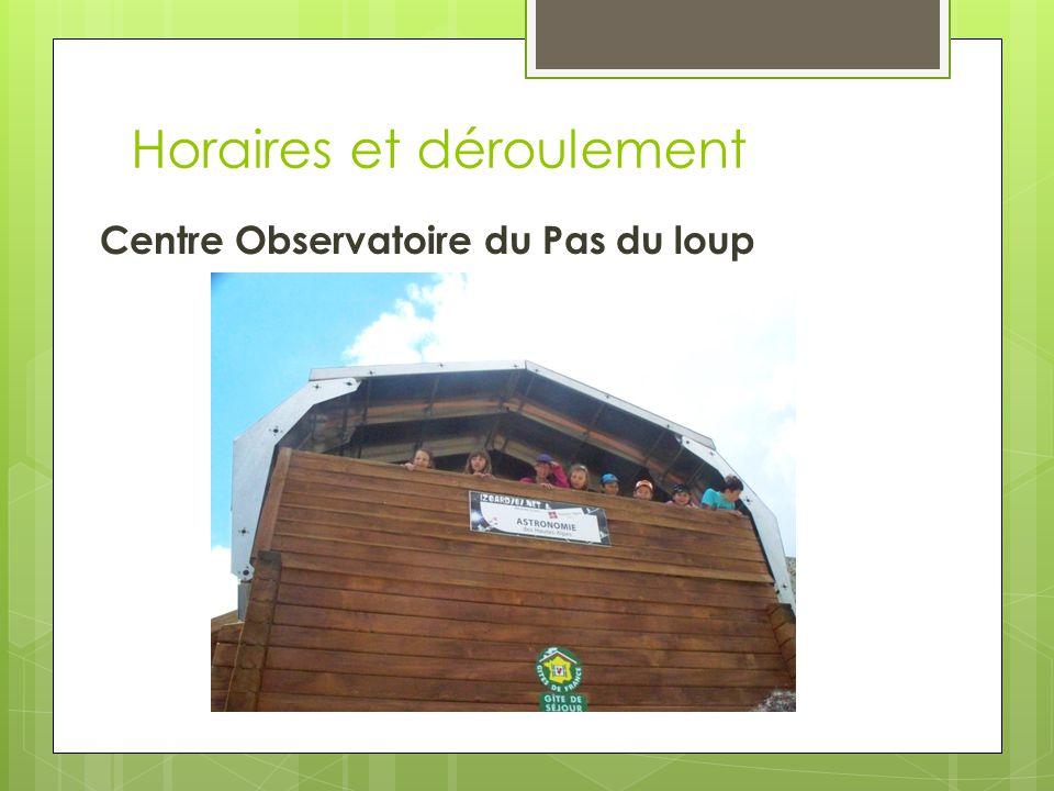 Horaires et déroulement Centre Observatoire du Pas du loup