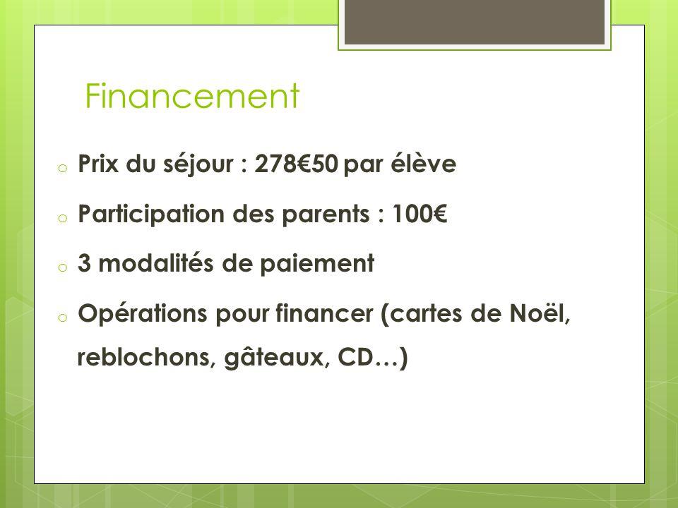 Financement o Prix du séjour : 278€50 par élève o Participation des parents : 100€ o 3 modalités de paiement o Opérations pour financer (cartes de Noë