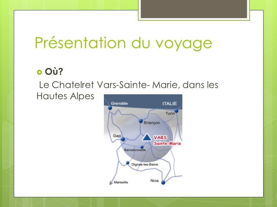 Présentation du voyage  Où? Le Chatelret Vars-Sainte- Marie, dans les Hautes Alpes