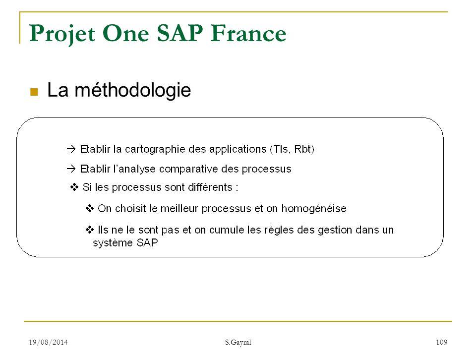 19/08/2014 S.Gayral 109 Projet One SAP France La méthodologie