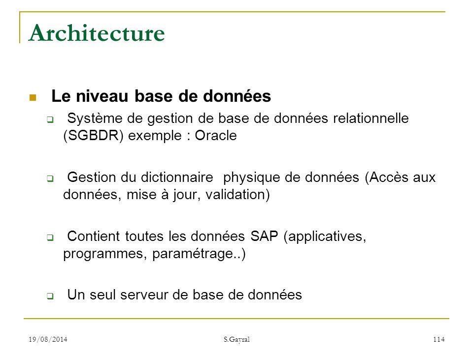 19/08/2014 S.Gayral 114 Architecture Le niveau base de données  Système de gestion de base de données relationnelle (SGBDR) exemple : Oracle  Gestio