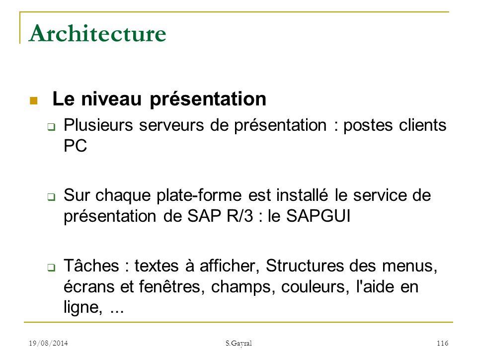 19/08/2014 S.Gayral 116 Architecture Le niveau présentation  Plusieurs serveurs de présentation : postes clients PC  Sur chaque plate-forme est inst