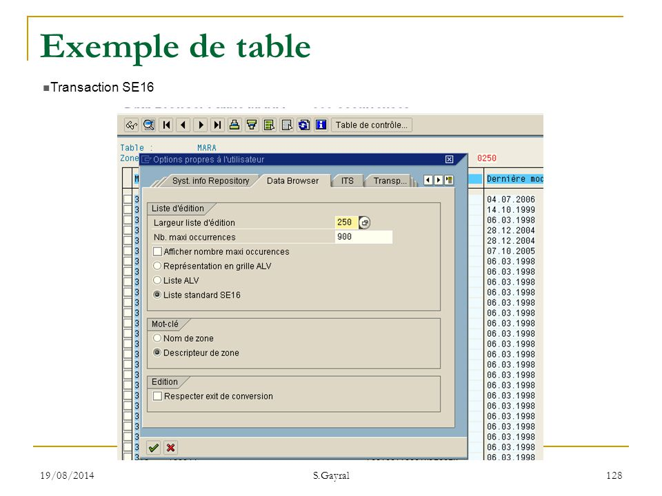 19/08/2014 S.Gayral 128 Transaction SE16 Exemple de table