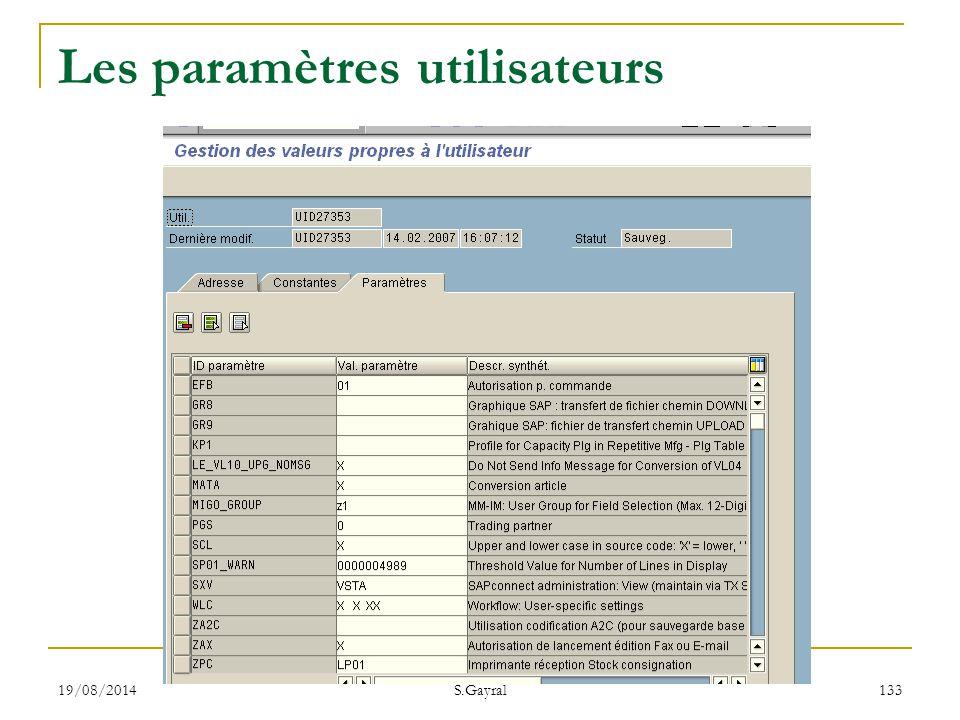 19/08/2014 S.Gayral 133 Les paramètres utilisateurs