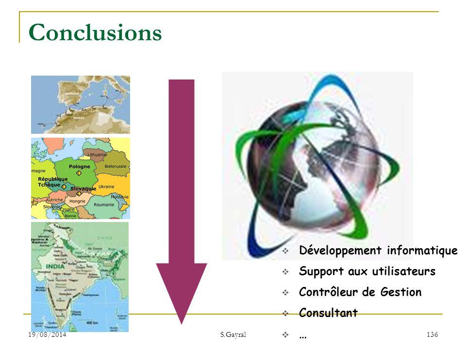 19/08/2014 S.Gayral 136  Développement informatique  Support aux utilisateurs  Contrôleur de Gestion  Consultant  … Conclusions